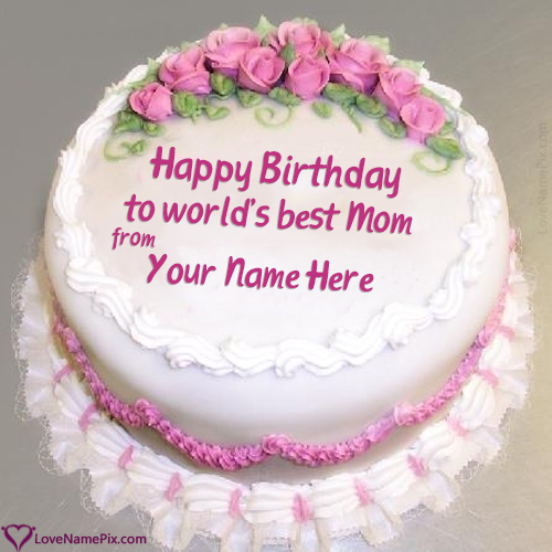 Roses Decorated Birthday Cake For Mom Name Generator Birthday