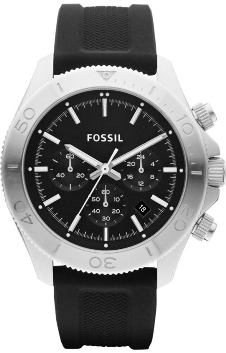 Fossil watches mens retro traveler chronograph silicone