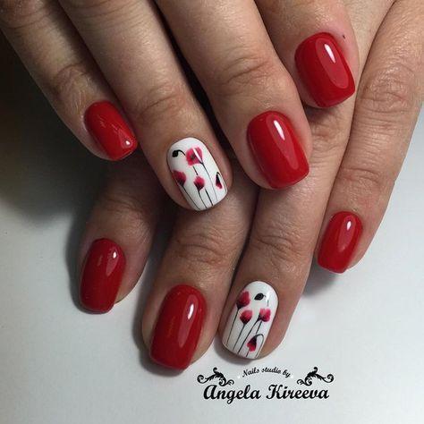 Uñas Rojas Decoradas Diseños Con Colores Y Formas