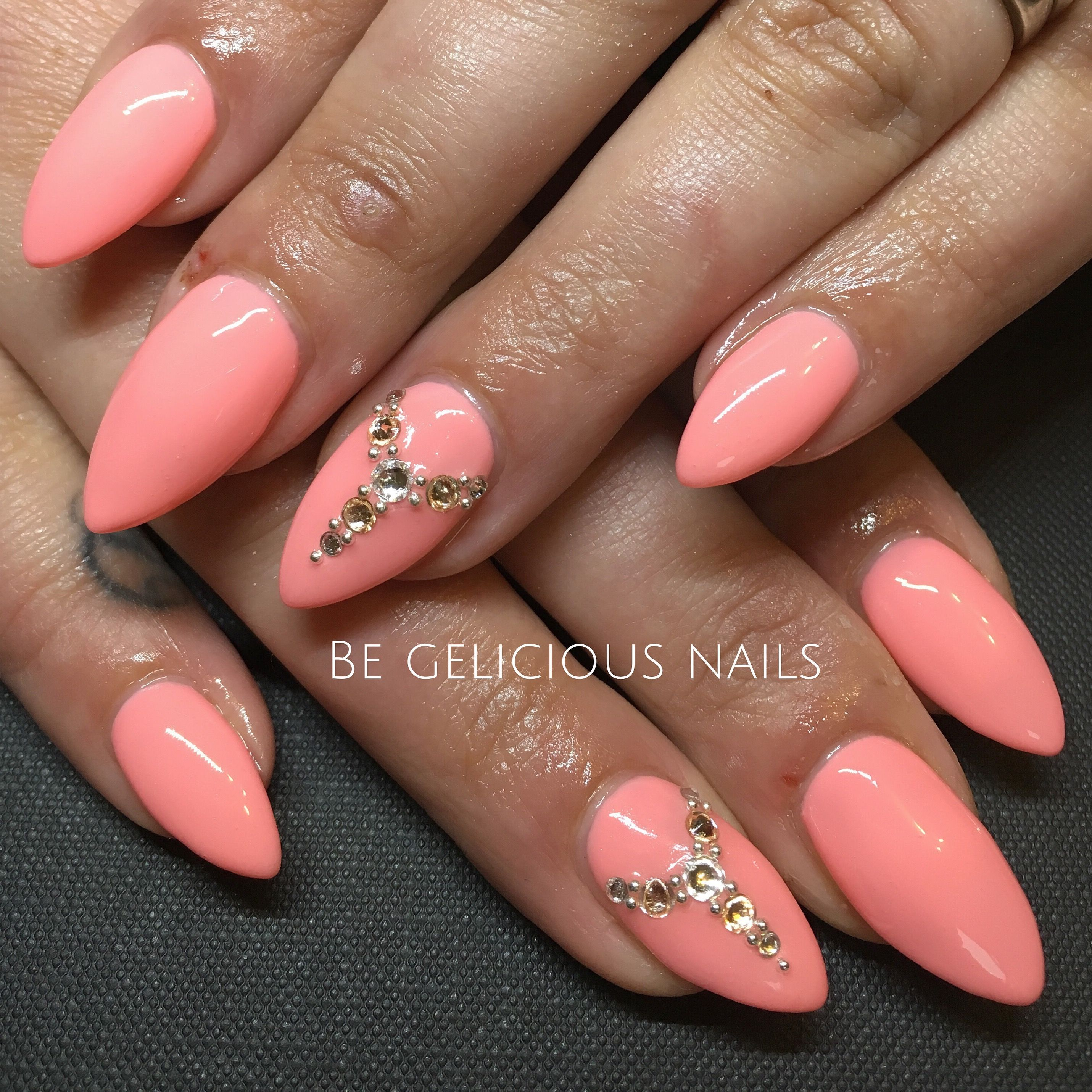 Calgel Nails Gel Nail Art Nail Design Swarovski Coral Summer