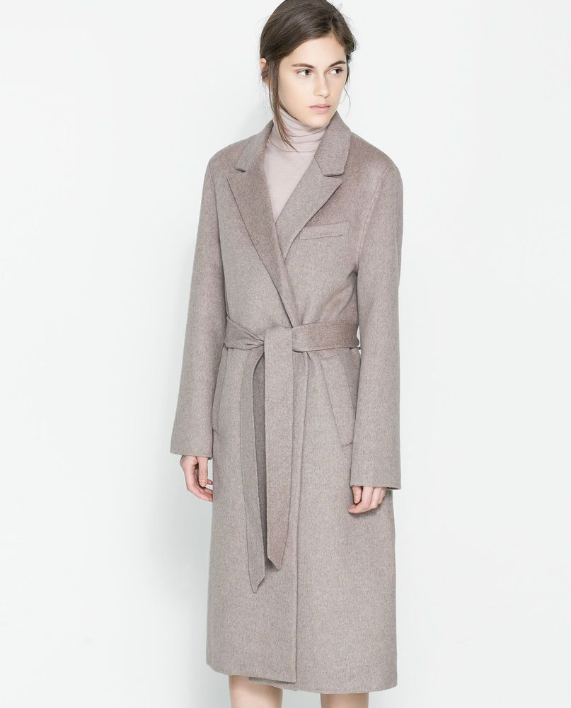 dc30362c Stunning ZARA Handmade Mink Wool & Silk Long Belted Coat M UK 12 14 US 8 10