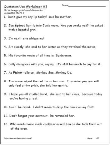 Quotation Marks Worksheet #2 Worksheets | Language Arts | Pinterest ...