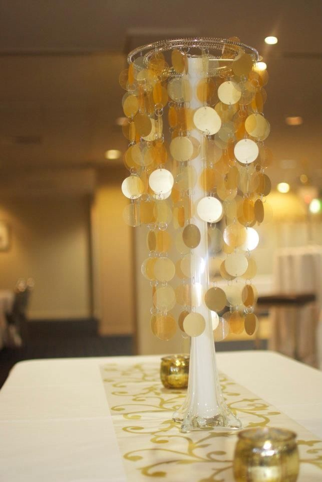 So Lovely Tall Gold Table Centerpiece Gold Goldwedding Blacktie Weddingde Golden Anniversary Decorations 50th Wedding Anniversary Party Golden Anniversary