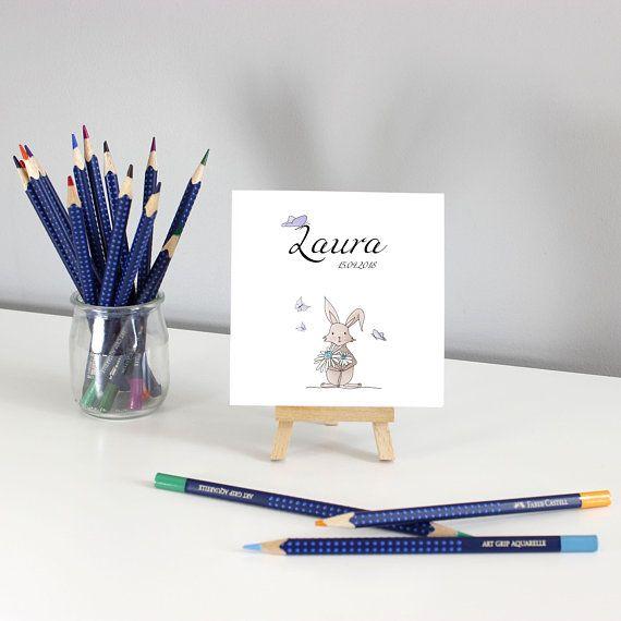Faire-part naissance lapin, faire-part à personnaliser, carte de naissance lapin, illustration printemps, lapin et fleurs