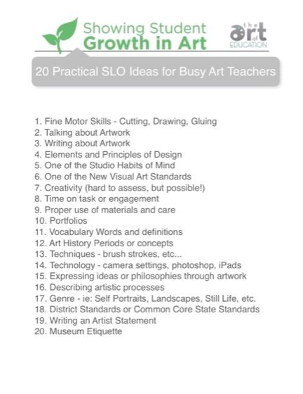 20 Practical SLO Ideas for Busy Art Teachers Art Ed Pinterest - sample artist statement