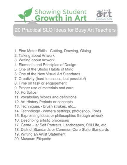 Practical Slo Ideas For Busy Art Teachers  Art Ed