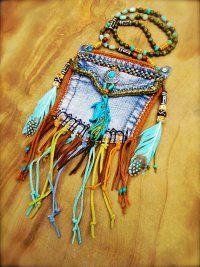 tribal, denim medicine bag