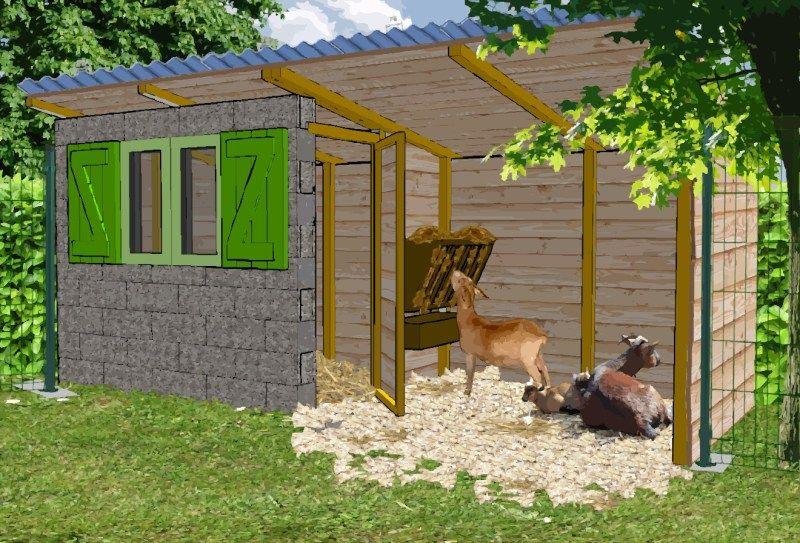 Abri pour les chevre petite chevrerie poulaillier bio for Construire cabane lapin