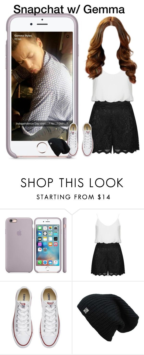 """Snapchat w/ Gemma"" by grace-food-lover ❤ liked on Polyvore featuring TFNC and Converse"