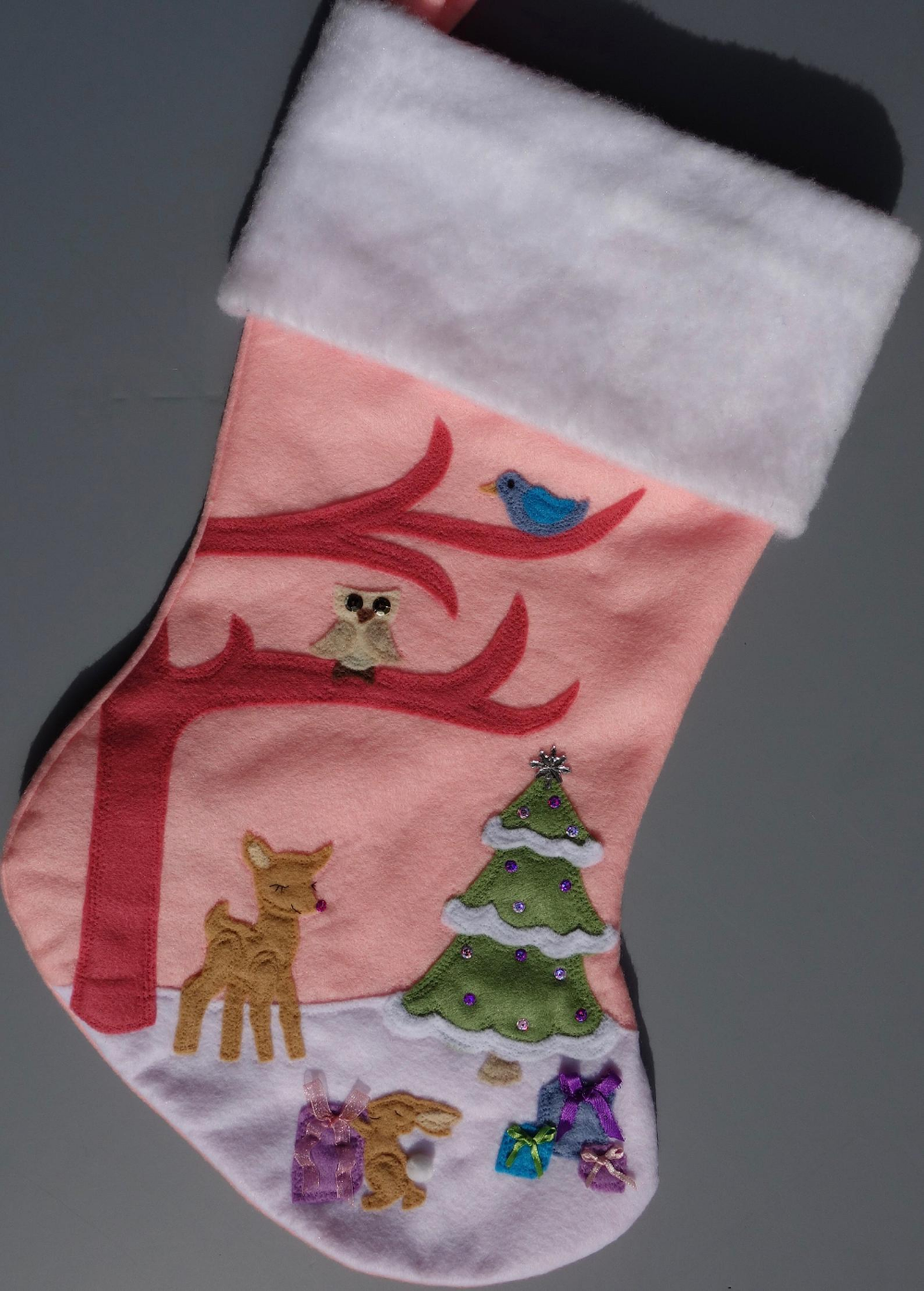 """Girl's Christmas Stocking--""""Pretty in Pink Forrest Scene ..."""