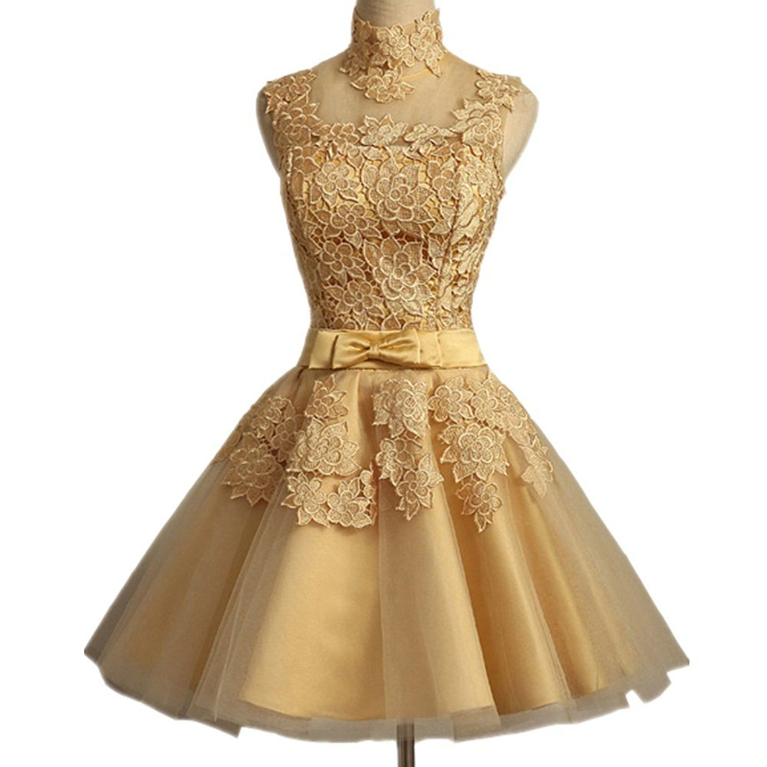 Lace appliqued empire ball gown bridesmaid dress short prom party