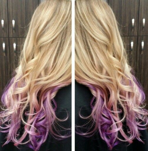 Blond weave and purple and lilac baylage all at once for this beautiful melt !!! By Janine Miranda