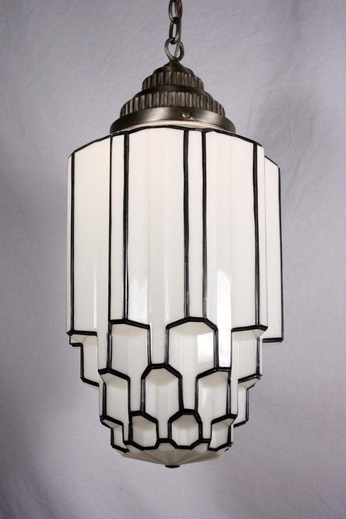 Amazing Antique Art Deco Pendant Light with Skyscraper ...