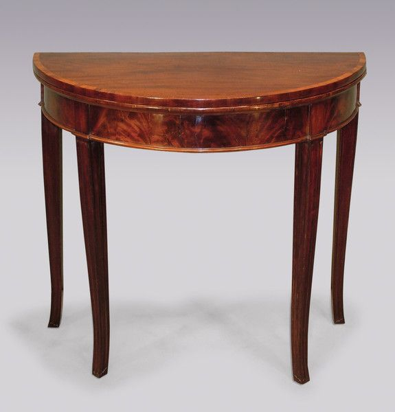 A Late 18th Century Sheraton Period Figured Mahogany Half Round Card Table,  Of Attractive Small