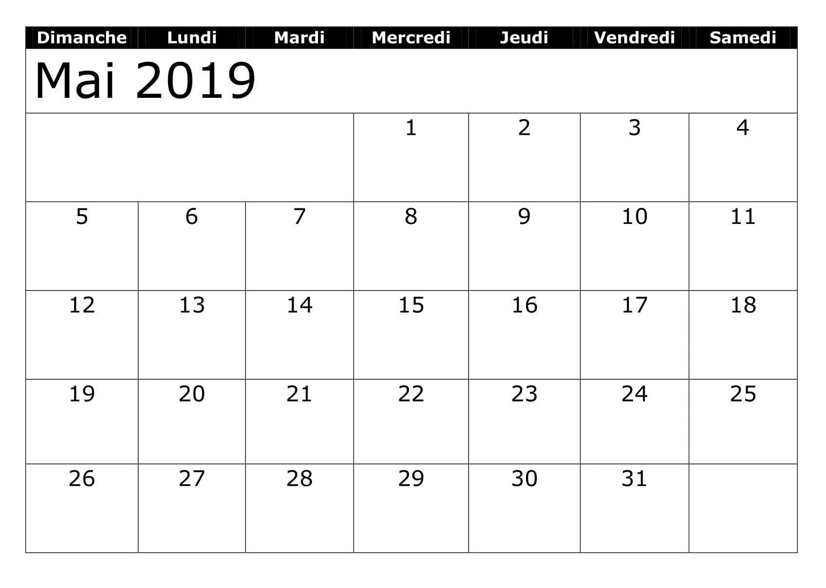 Mai Calendrier 2019.Calendrier 2019 Mai A Imprimer Vacances 2019 Calendar