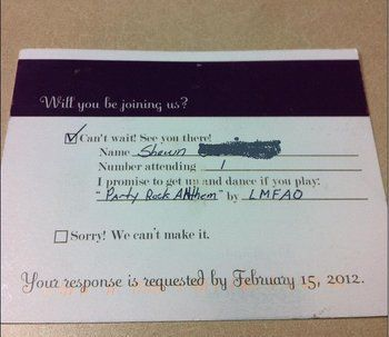 Wedding Rsvp With Song Request