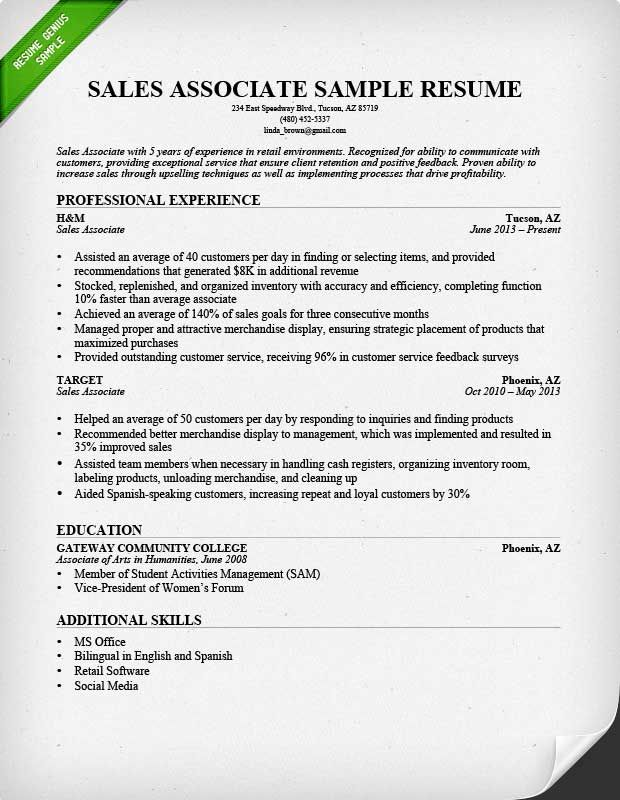 Retail Writing guide and Sample resume