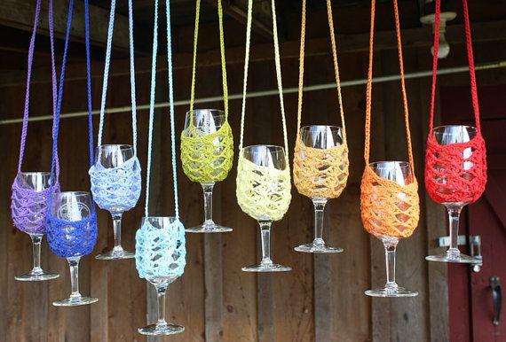Handmade Crochet Wine Holder, Wine Necklace, Wine tasting, Wine sling, Wine Cozy, Festival, Bachelorette Party, Bridal Shower, Wedding Favor on Etsy, $15.00