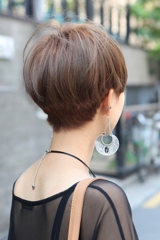 Short Straight Haircut For Asian Women Back View Of