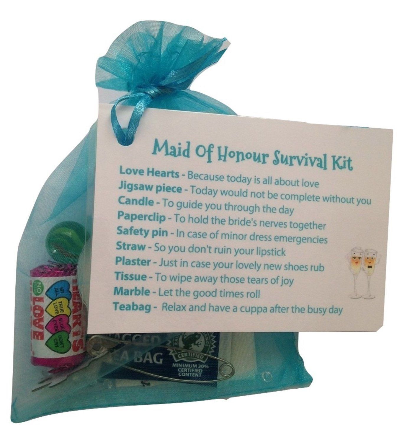 Maid Of Honour Survival Kit In Turquoise Thank You Gift Card
