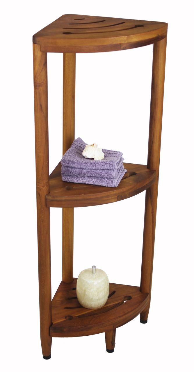The Original Kai Corner Teak Bath Shelf Bath Shelf Wooden Corner Shelf Corner Shelves