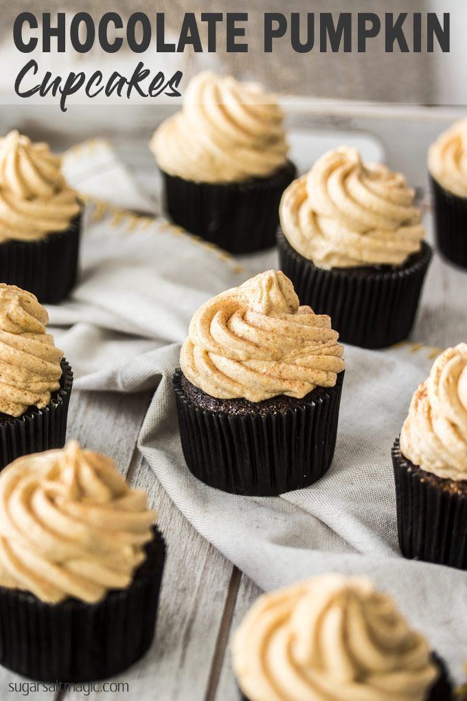 Chocolate Pumpkin Cupcakes with Pumpkin Spice Frosting | Sugar Salt Magic