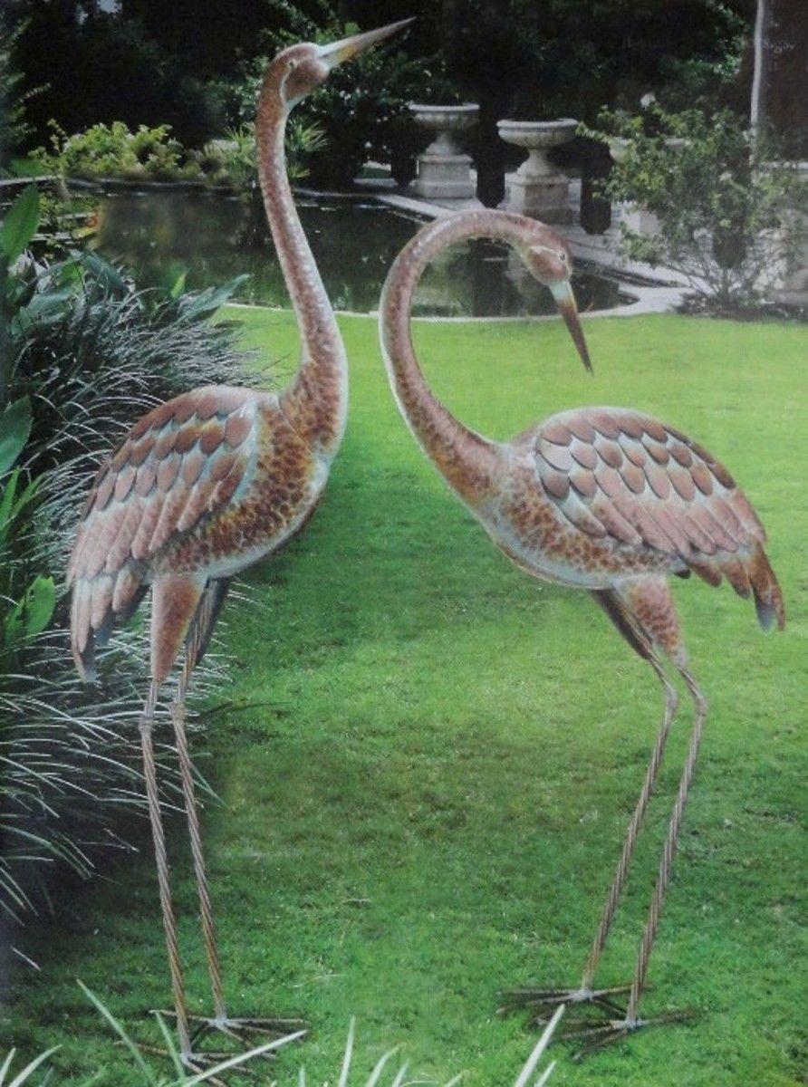 Details Garden Crane Pair Statues Heron Bird
