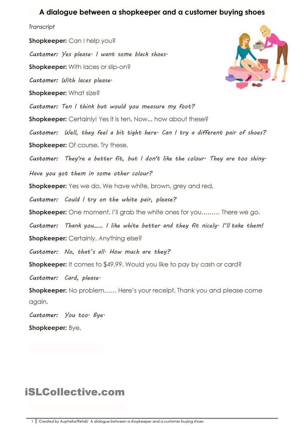 Worksheets Writing Dialogue Worksheet pin by dora tomich on language matters pinterest worksheets a dialogue between shopkeeper and customer buying shoes worksheet free esl printable made teachers
