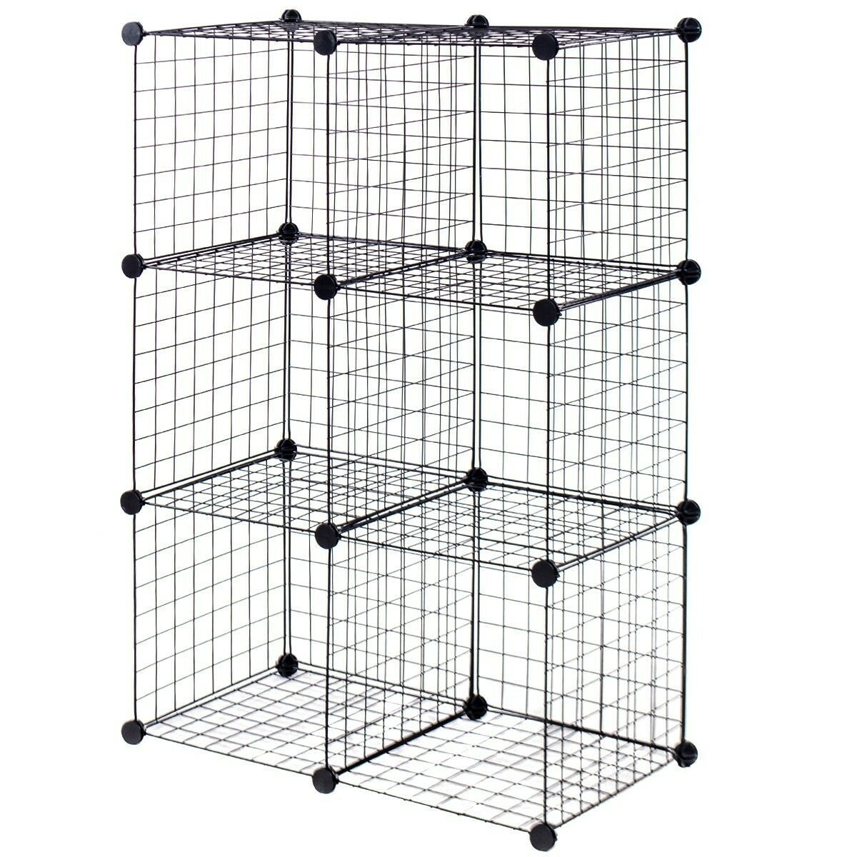 Details About Diy 6 Cube Wire Grid Cube Shelves Bookcase Rack Organizer Storage Cabinet Mount In 2020 With Images Cube Storage Cube Shelves Diy Cube Storage