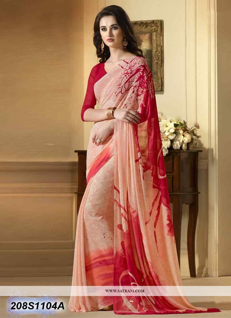 25898fbb8f Buy this Ethereal Peach Coloured Georgette Printed Saree at reasonable rate  from Satrani Fashion.