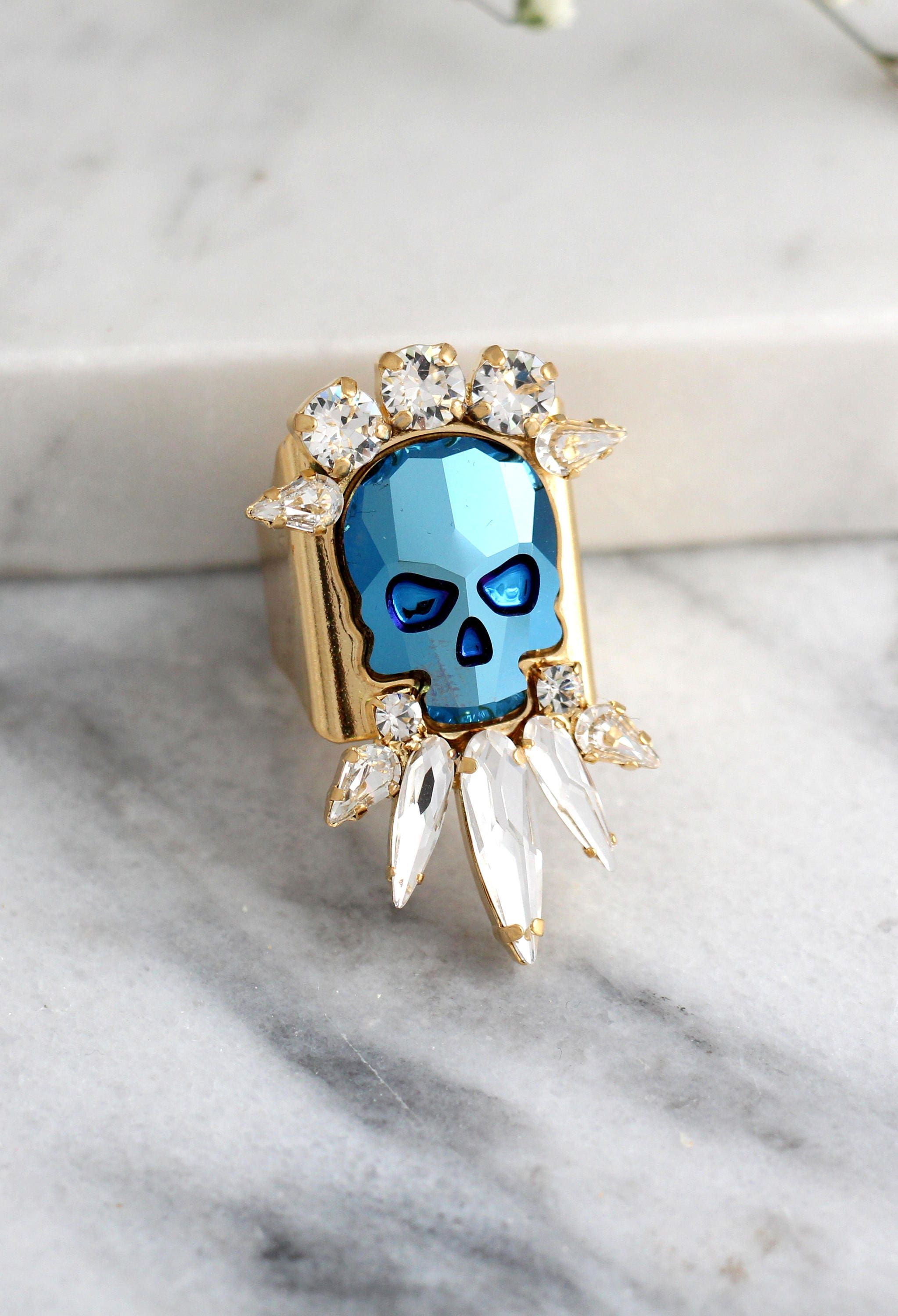 """""""Skull Ring, Silver Skull Ring, Cocktail Ring, Gothic Ring, Sugar Skull Ring, Bridal Ring, Adjustable Skull Crystal Ring, Gift For Woman. ♥IF YOU WANT THE BEST CHOSE THE ORIGINAL ♥ Top Quality Materials ♥ Excellent Customer Service ♥ Handcrafted with genuine crystals ♥ IF YOU WANT THE BEST CHOSE THE ORIGINAL Arrives in our signature Petite Delights by Ilona Rubin® Box. Sent By Registered Insured mail. Details : ♥ U.S packages shipped via USPS® insured+USPS® tracking number ♥ Handcrafted with gen"""