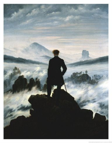 Poster friedrich wanderer the Sea of Fog Photographic Print-Canvas Canvas