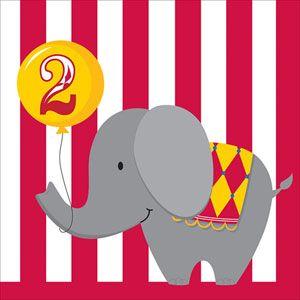 Circus Time! 2nd Birthday Luncheon Napkins