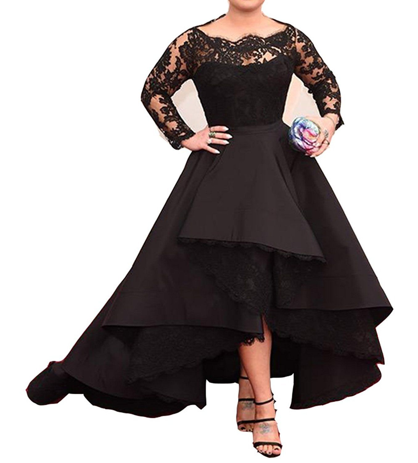 Pinkmemory womenus long sleeves lace black prom evening dress high