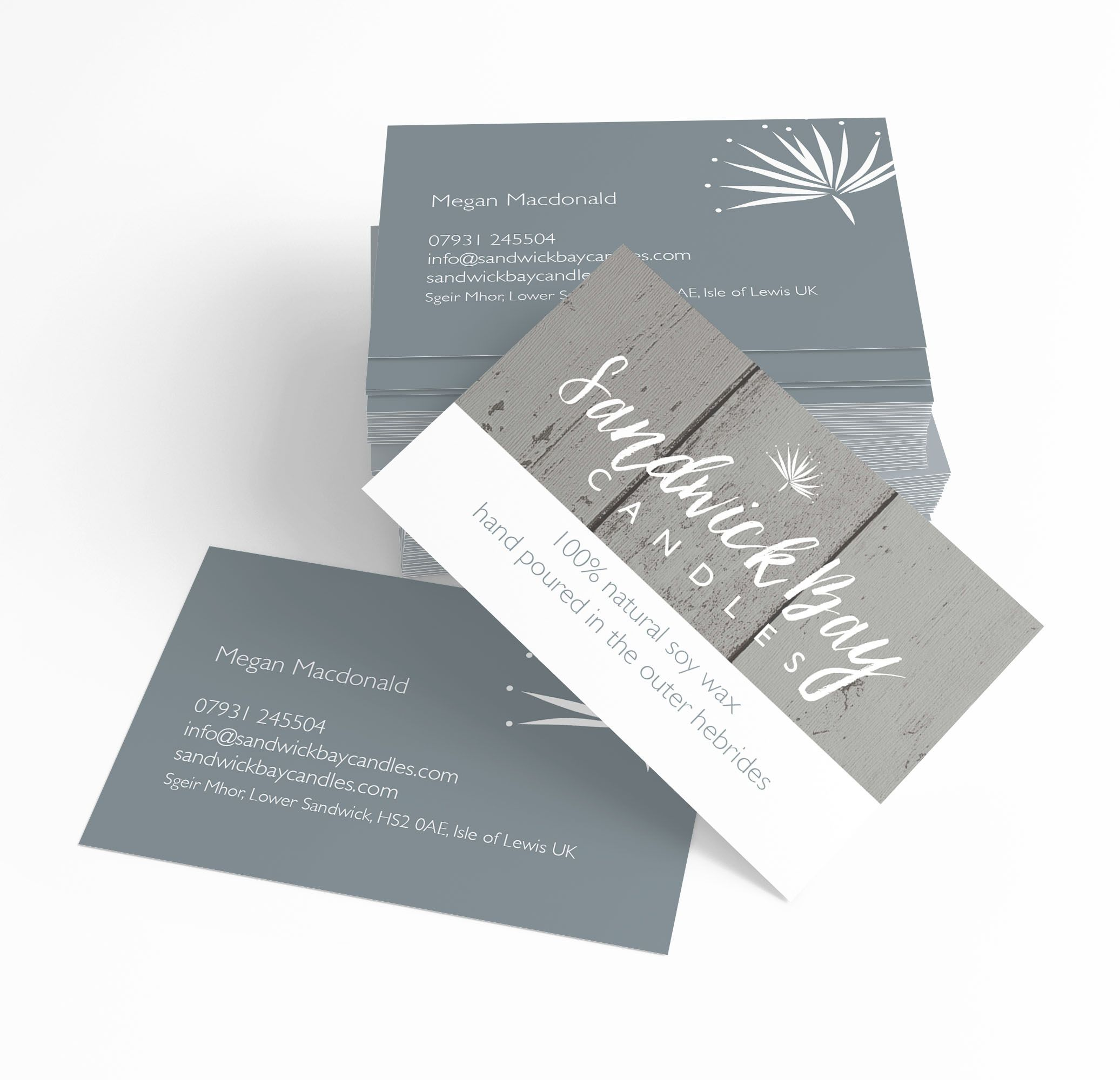 business card design for sandwick bay candles by ros o donnell