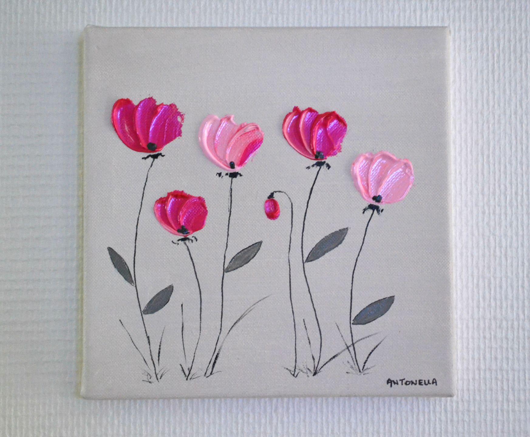tableau moderne abstrait fleurs roses petit tableau d co romantique fleurs format 20x20. Black Bedroom Furniture Sets. Home Design Ideas