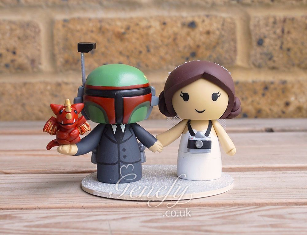 Star Wars Boba Fett and Princess Leia with camera and dragon pet wedding cake topper by GenefyPlayground  https://www.facebook.com/genefyplayground