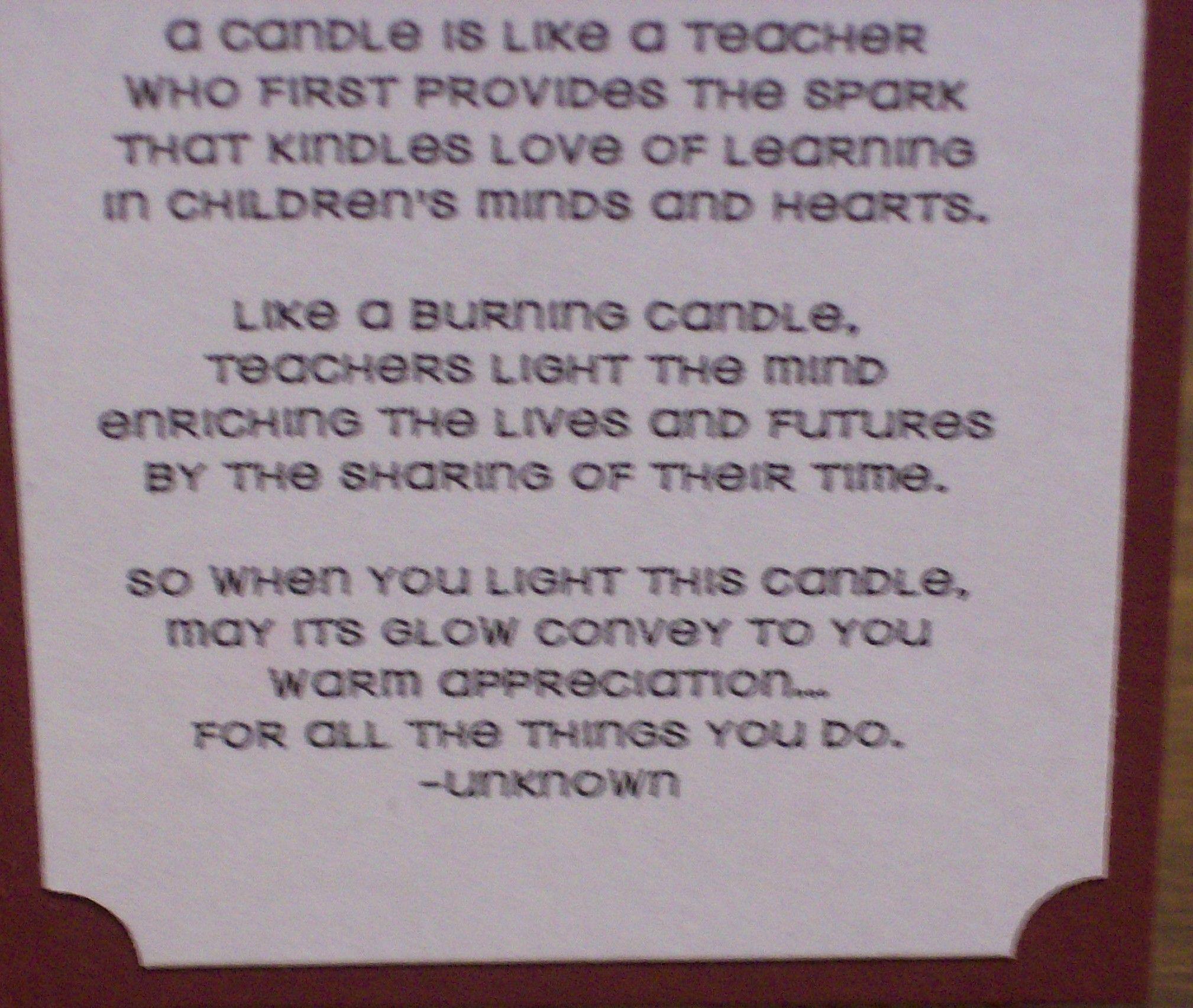 A Candle is Like a Teacher