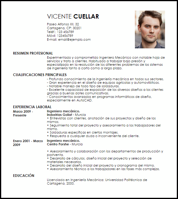 Modelo Curriculum Vitae Ingeniero Mecánico con Experiencia | Design ...