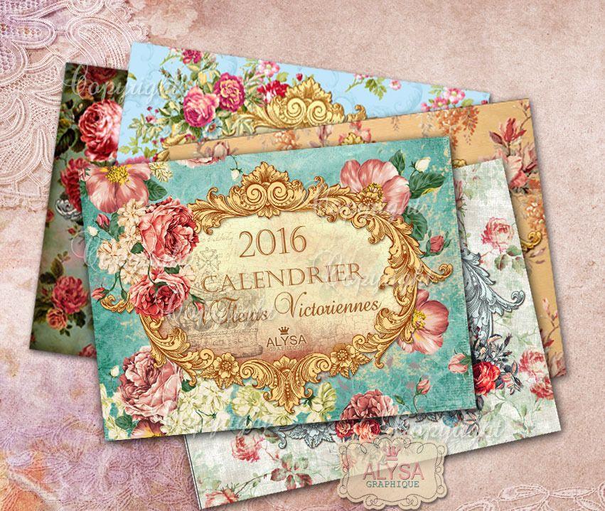 Set de calendriers du mois 2016 imprimer fleurs pour - Decoupage collage a imprimer ...