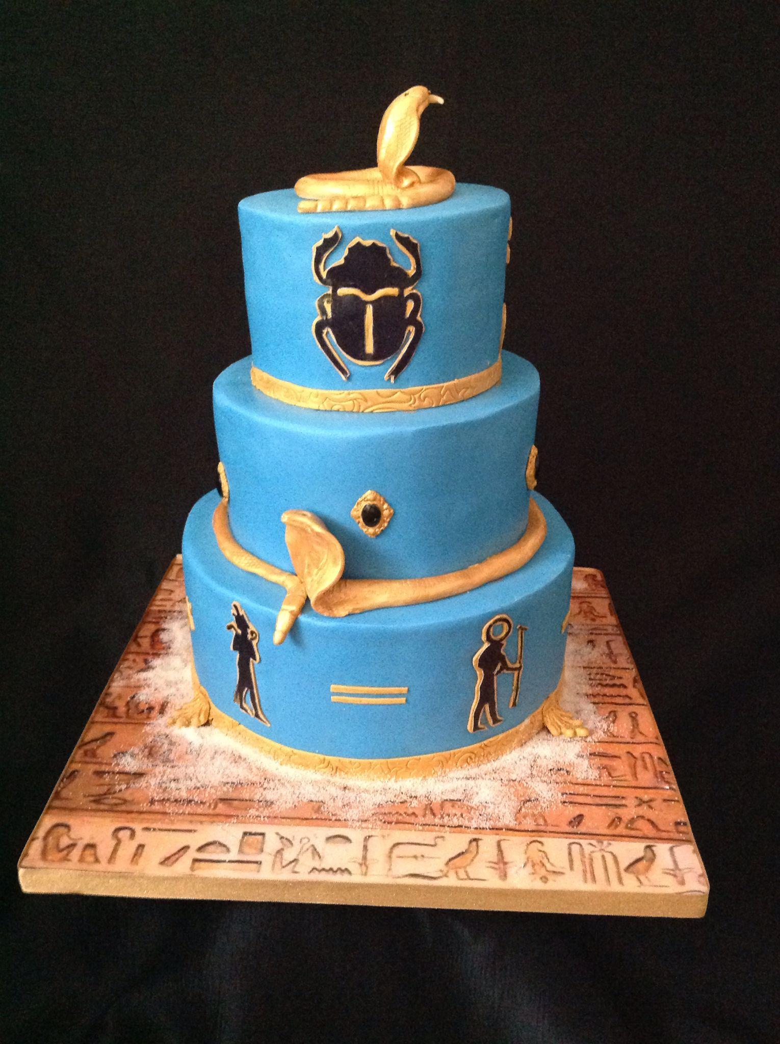 Enjoyable Three Tier Egyptian Theme Birthday Cake Cake Novelty Cakes Funny Birthday Cards Online Necthendildamsfinfo