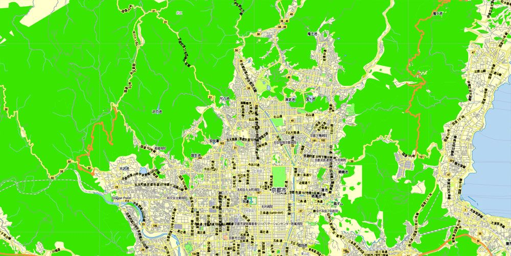 Kyoto japan printable exact vector map g view level 13 2000 pdf map kyoto japan printable exact vector map g view level 13 2000 meters street city plan v309 full editable adobe pdf full vector scalable gumiabroncs Image collections