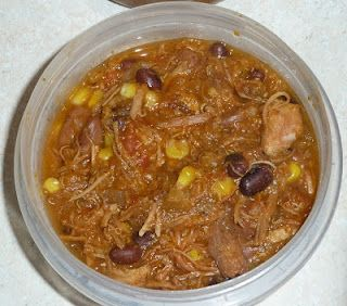 22 ingredient slow cooker chili.  Lots of ingredients, but very thick and hearty.  Leftovers freeze great.
