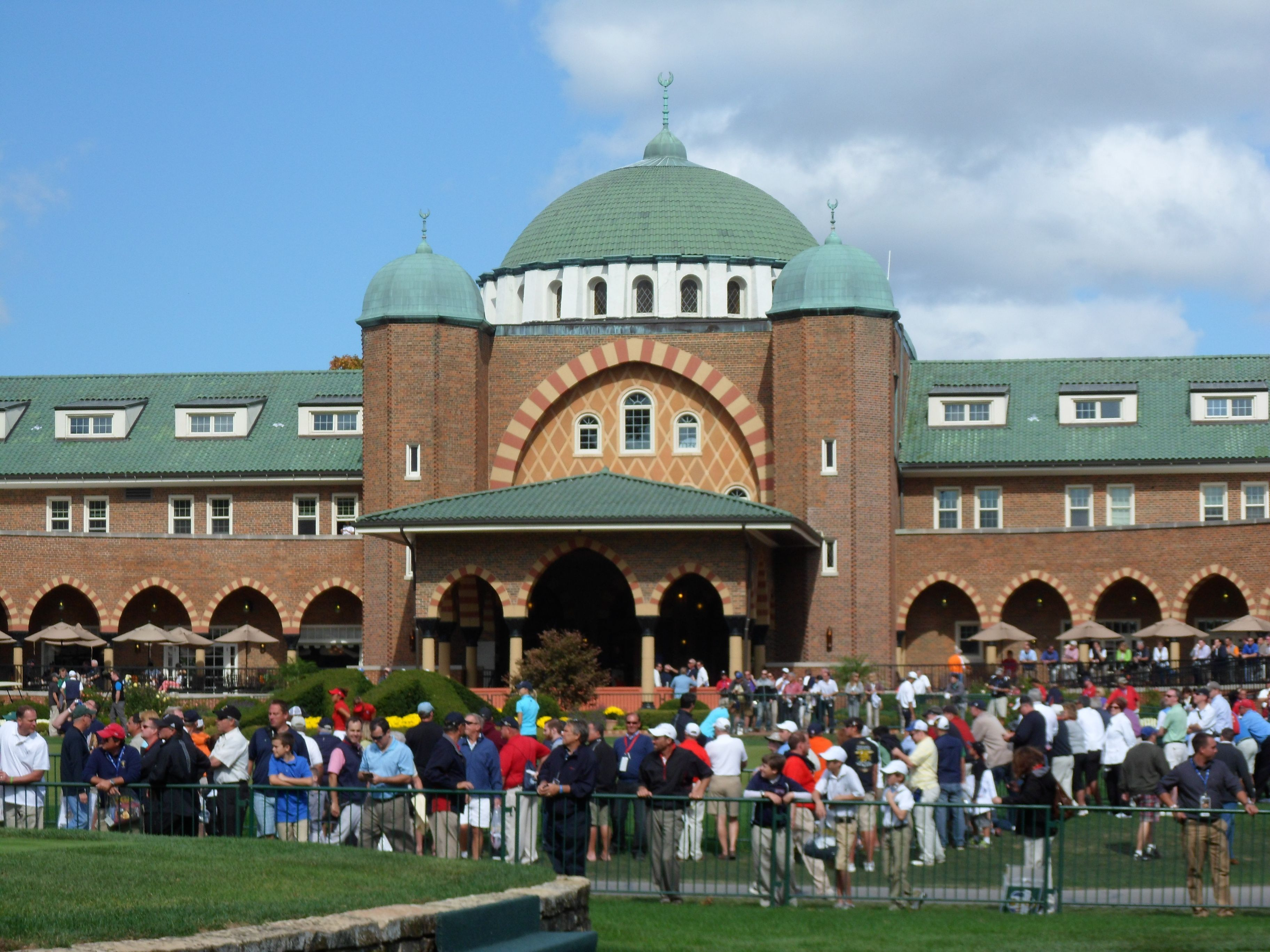 The Clubhouse at Medinah Country Club, Medinah Illinois (near the City of Chicago).  I got tickets to be on the grounds at Wednesday's practice round.  Great experience to watch history as it's being created!!