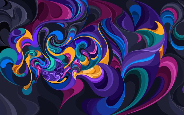 Scarica Sfondi Colorato Onde 4k Astratto Onde Curve Arte