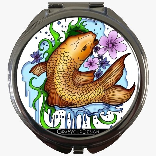 Round Pocket Mirror - Koi Fish - by Adamzworld
