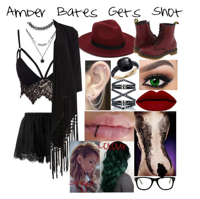 """""""Amber Bates Gets Shot"""" by firegirlx48 ❤ liked on Polyvore featuring Forever 21, Twin-Set, Club L, ASOS, Otis Jaxon, Soaked in Luxury, Eva Fehren, Dr. Martens, Pomellato and Muse"""
