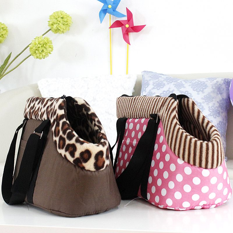 Pet Bag Dog Carrier Travel Carrying For Dogs Cats Leopard Print Small Pink