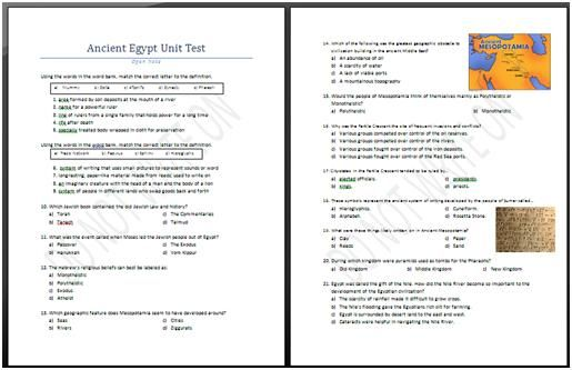Ancient Egypt Unit Assessment Answer Key Ancient Egypt