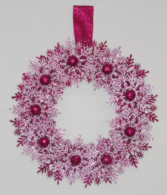 Christmas Snowflake Wreath - SAMPLE CLEARANCE - Pink and Purple